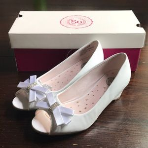 Girls White Wedge Heels size 3